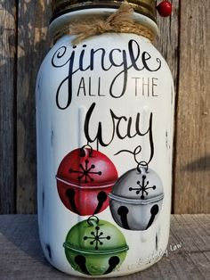 Jingle All The Way Hand Painted Quart Ball Perfect Mason Jar, Christmas Mason Jar, Jingle all the WaFantastic Christmas Mason Jar DIY: Santa and Elf Candy JarOutstanding mason jar hacks are readily available on our internet site. Christmas Paintings, Christmas Art, Christmas Projects, Christmas Decorations, Christmas Ideas, White Christmas, Vintage Christmas, Mason Jar Projects, Mason Jar Crafts