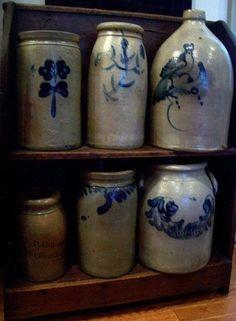 Old Primitive Stoneware Crocks