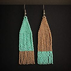 Mismatched earrings Long seed bead earrings Unusual earrings Stylish earrings for women Dangle fringe beaded earrings Asymmetrical earrings