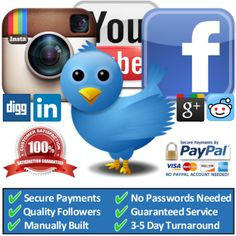 Cheap Quality Youtube Views, Facebook Likes and Fans, Twitter and Instagram Followers.