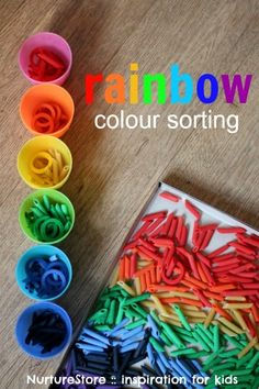 How to dye pasta for rainbow color sorting activities toddler preschool Rainbow Activities, Sorting Activities, Montessori Activities, Activities For Kids, Colour Activities Eyfs, Montessori Materials, Montessori Homeschool, Day Care Activities, Sensory Activities For Autism