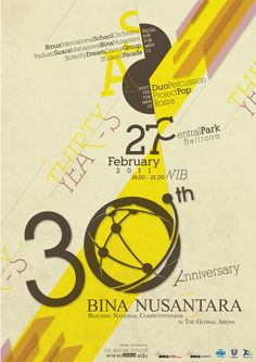 30th ANNIVERSARY BINUS UNIVERSITY [poster] on Behance