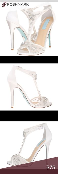 """BETSEY JOHNSON EVENING SANDALS Breathtakingly beautiful and embellished with beading. These sexy high heels will definitely have all eyes on you. Almond peep toe sandal with a T-strap and side buckle ankle closure. Lightly padded footboard. Material satin. Approx heel 41/2"""".  Color Ivory. Betsey Johnson Shoes Heels"""