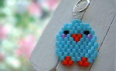 Cute Blue Bird Charm / Pendant - Beaded Animal Jewelry - Brick Stitch Bead Weaving - Spring Jewelry