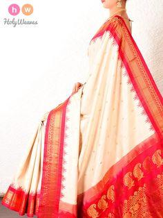 #Cream #Red #Gadwal #Kadhuan #Brocade #Handwoven #Silk #Saree #HolyWeaves