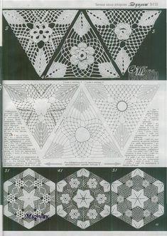 "Photo from album ""Дуплет on Yandex. Crochet Triangle Pattern, Crochet Motifs, Crochet Blocks, Crochet Chart, Crochet Squares, Crochet Stitches, Crochet Patterns, Russian Crochet, Irish Crochet"