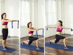 Reverse Lunge with Twist & Pull - Stand with arms extended forward at chest height, holding 1 end of band in each hand. Step left foot back and lower into a lunge. Twist torso over right leg and pull hands farther apart, stretching band. Return to start, then repeat on opposite side. Alternate sides with each rep.