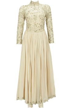 Beige embroidered lace yoke anarkali set available only at Pernia's Pop-Up Shop.
