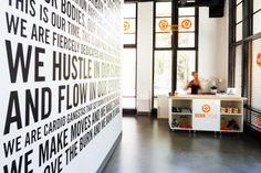 BurnCycle Portland spinning studio. Modern, contemporary and colorful commercial interior.