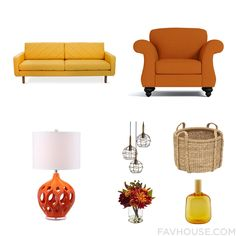 Home Decor Products Featuring Gus* Modern Sofa, Orange Chair, Safavieh Table Lamp And Wire Pendant Light From December 2016