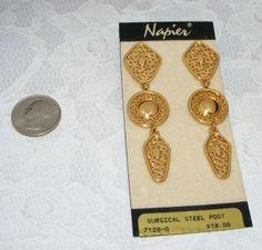 "Vintage NAPIER 3"" long dangling Filigree goldtone Metal EARRINGS pierced On card"