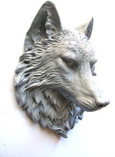 Faux Taxidermie Large Wolf Head Wall Mount Wall by mahzerandvee