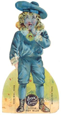 Little Blue Boy Lion Coffee Paper Doll Trade Card | eBay