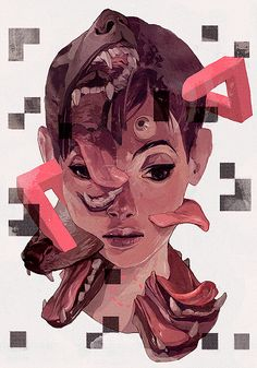 "Sachin Teng Photoshop tutorial: Surreal mixed-media illustration - Digital Arts ""Surreal"" elements aside, the article includes some very practical painting tips. Art And Illustration, Illustrations, Illustration Editorial, Kunst Inspo, Art Inspo, Arte Sketchbook, Art Graphique, Art Reference, Amazing Art"