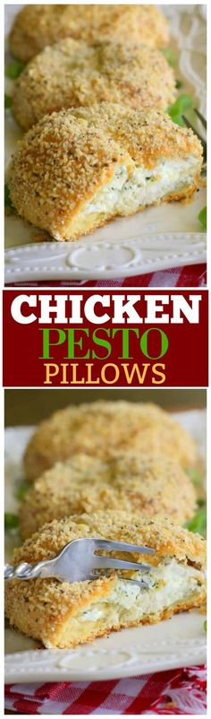 These Pesto Chicken Pillows are an easy weeknight dinner. The inside has a creamy chicken filling with a crunchy outside. #easydinners