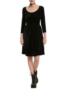 medium Black Velvet Fit And Flare Dress