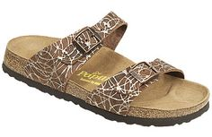 Papillio Sydney Hypnotic Brown Leather Two thinner, contoured straps make this style very comfortable for those with prominent foot bones. Creative patterns and materials set the Papillio Sydney apart. #birkenstock #birkenstockexpress.com  $110