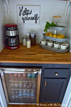 DIY Beverage Bar made with stock cabinets, chalky finish paint and butcher block! This space was a closet under the stairs. #decoartprojects #chalkyfinish #spon @DecoArt Inc.