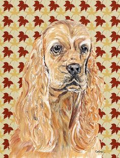 Cocker Spaniel Fall Leaves Flag Canvas House Size