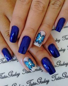 Indigo Nails, Love Blue, Naturally Beautiful, Blue Nails, Spring Nails, Nail Designs, Polish, Nail Art, Beauty