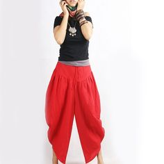 red harem style pants