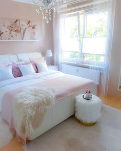 38 Cute and Girly Bedroom Decorating Tips for Teenagers - Page 6 of 38 - VimDecor - cute bedroom ideas; Pink Bedroom Design, Pink Bedroom Decor, Romantic Bedroom Decor, Cute Bedroom Ideas, Girl Bedroom Designs, Stylish Bedroom, Room Ideas Bedroom, Dream Bedroom, Cozy Bedroom
