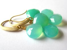 Chrysoprase Chalcedony Earrings Gold Matte Dangle by LeanneDesigns