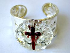 Sterling silver Fearless glass cuff!