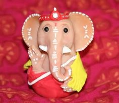 Very Cute Ganesha made from polymer clay Diwali Decorations, Indian Festivals, Clay Projects, Ganesha, Interior Design Inspiration, Terracotta, Birthday Candles, Polymer Clay, Dolls