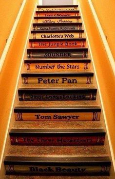 Stairs with book titles art