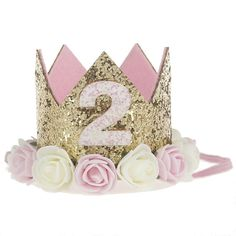 Baby Princess Tiara Crown, Baby Girls/Kids First Birthday Hat Sparkle Gold Flower Style with Artificial Rose. Title: Baby Princess Tiara Crown, Baby Girls/Kids First Birthday Hat Sparkle Gold Flower Glitter Birthday, Gold Birthday, Princess Birthday, Baby Birthday, Flower Birthday, 1 Year Birthday, Birthday Ideas, First Birthday Hats, Birthday Party Hats