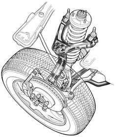 Auto Repair Shop in St. Joseph Mo - Wholesale Tire and Automotive Repair Services Technical Illustration, Technical Drawing, Illustration Art, Electric Car Engine, Car Alignment, Garage Art, Black And White Illustration, Car Wheels, Muscle Cars