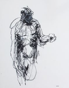 "Gestural Male Figure Drawing  - 11 x 14"",  fine art - Drawing 163 - charcoal and pastel on paper - original drawing"