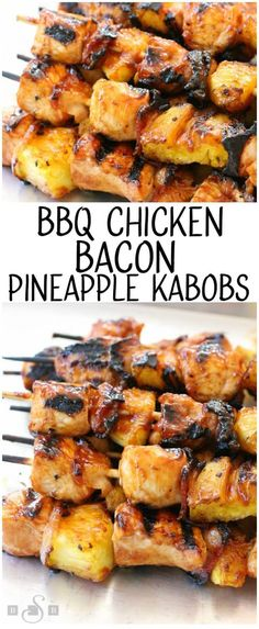Tender chicken paired with tangy pineapple and smoky bacon all slathered with your favorite BBQ sauce. This BBQ Chicken Bacon Pineapple Kabobs recipe is one of my favorite grilled BBQ chicken dinners! (recipes for cooked chicken bbq sauces) Chicken Kabob Recipes, Grilling Recipes, Cooking Recipes, Healthy Recipes, Bbq Meals, Easy Recipes, Skewer Recipes, Cooking Games, Cooking Classes