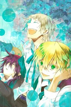 Elliot Nightray, Leo Baskerville and Oz Vessalius | Pandora Hearts (It's so good to see Elliot this happy ♡)