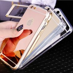 Luxury plating mirror back covers transparent border Soft TPU Phone Case For iPhone 6 6S 7 Plus SE 5S 5 B43