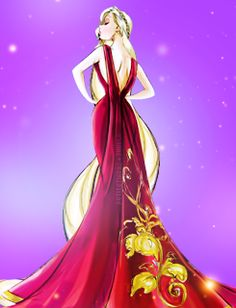Someone took the Disney Princess Couture collection and mashed it up with the Villains Couture collection, which is pretty much the BEST IDEA EVER.  Here we have Rapunzel as her evil adopted mom who's name I'm not even going to bother trying to spell.  She looks surprisingly good in red!