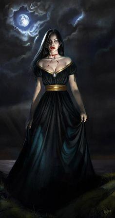 Vampire Art by Aly Fell Fantasy Women, Dark Fantasy Art, Dark Art, Fantasy Romance, Vampire Love, Vampire Art, Vampire Dress, Vampire Teeth, Arte Horror
