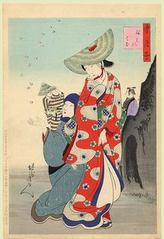 Artist:Chikanobu  Date:1899  Size/Format:Oban Tate-e, 14 by 9.5 inches  Description:Early Spring: the fall of the cherry petals.  Series:SetsuGekka (Snow, Moon and Flowers)  Publisher:Matsuki Heikichi  Condition:Minor marks but generally fine.  Impression:Very Good