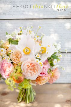 sooo cute but swap out white flowers with the yellow centers for white and lavender peonies -- love the use of fever few here!