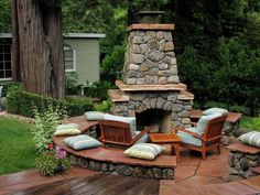 Inspirational: Secluded outdoor fireplace on patio