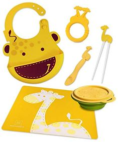 Buy Marcus & Marcus Lola the Giraffe Silicone Baby Bib, Collapsible Bowl, Feeding Spoon, Chopsticks, Teether & Placemat Baby Placemat, Baby Blog, Food Storage Containers, 6 Packs, Our Baby, Baby Feeding, Baby Items, Giraffe, Spoon