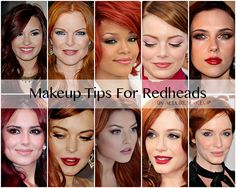 Tips For Redheads1.cat eye eyeliner looks fantastic with red hair 2.you can wear bronzer and red lipstick 3.light concealer under eyes 4. Brown eyeliner not black 5. lighter blush 6. Olive, beige, plum, pink, peaches and browns for eyeshadow 7 light eyebrow pencil or eye shadow to fill in brows 8.avoid heavy foundation.9.Stay away from foundation with red/pink base.10.Lipsticks/lip gloss in natural shades like coral, peach, apricot and rose.For intense color, blue-based reds look best.