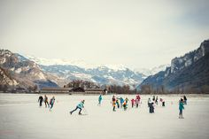 Ice skating on the natural ice rink in Brienz!