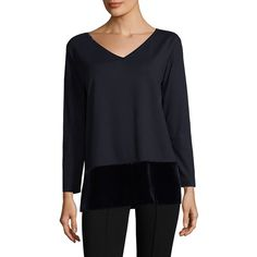 Lafayette 148 New York Velvet Combo Top ($119) ❤ liked on Polyvore featuring tops, v-neck pullover, blue top, lafayette 148 new york, blue pullover and long sleeve pullover