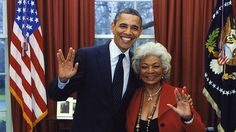 President Obama and Nichelle Nichols flash the Vulcan salute - our Geek in Chief