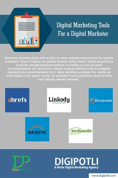 Must Have Digital Marketing Tools For a Digital #Marketer | Part III | Backlink Investigation......#Digipotli #DigitalMarketing #WebPromotion #OnlineAdvertising #InternetMarketing #SocialMediaMarketing #BrandPromotion #InternetFacts #Webdesigncompany #Businessoninternet