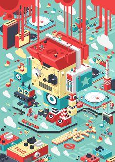 Music City on Behance Isometric Art, Isometric Design, Graphic Design Illustration, Flat Illustration, Deco New York, Design Art, Game Design, 3d Artwork, Wow Art