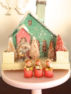 vintage christmas decor- use old starbucks decoration from staci- paint and decorate.