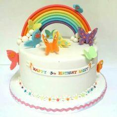 Rainbow Butterfly Lisa Frank cake